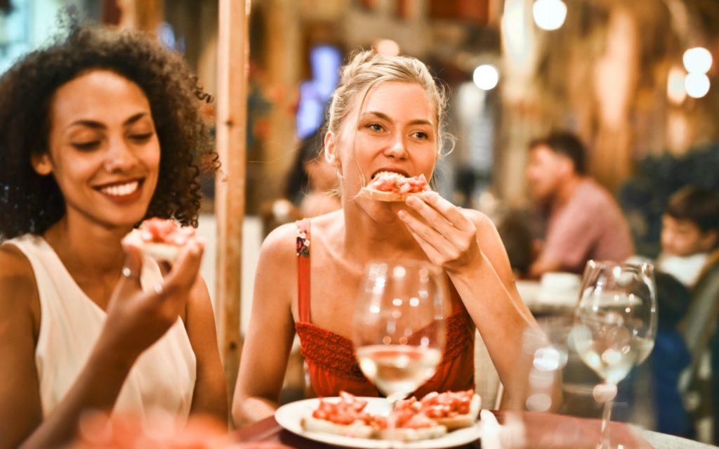 Two women at celebration dinner